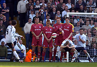 Photo: Olly Greenwood.<br />Tottenham Hotspur v Reading. The Barclays Premiership. 01/04/2007. Spurs Dimitar Berbatov kicks a free kick over Reading's wall