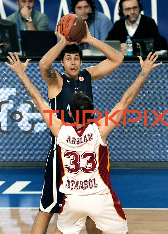 Anadolu Efes's Cenk Akyol (B) during their Turkish Airlines Euroleague Basketball Top 16 Game 1 match Anadolu Efes between Galatasaray at Sinan Erdem Arena in Istanbul, Turkey, Thursday, January 19, 2012. Photo by TURKPIX