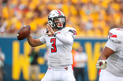 Oct 2, 2021; Morgantown, West Virginia, USA; Texas Tech Red Raiders quarterback Henry Colombi (3) throws a pass during the first quarter against the West Virginia Mountaineers at Mountaineer Field at Milan Puskar Stadium. Mandatory Credit: Ben Queen-USA TODAY Sports