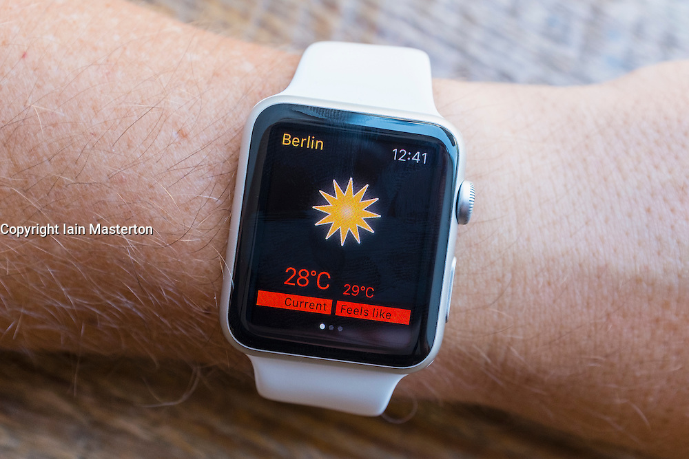 Weather app on an Apple Watch
