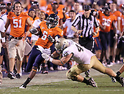 Sept. 3, 2011 - Charlottesville, Virginia - USA; Virginia Cavaliers wide receiver Darius Jennings (6) is tackled by William & Mary Tribe linebacker Ian Haislip (40) during an NCAA football game at Scott Stadium. Virginia won 40-3. (Credit Image: © Andrew Shurtleff