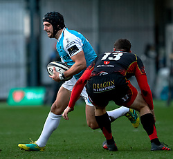 Dan Evans of Ospreys under pressure from Adam Warren of Dragons<br /> <br /> Photographer Simon King/Replay Images<br /> <br /> Guinness PRO14 Round 12 - Dragons v Ospreys - Sunday 30th December 2018 - Rodney Parade - Newport<br /> <br /> World Copyright © Replay Images . All rights reserved. info@replayimages.co.uk - http://replayimages.co.uk