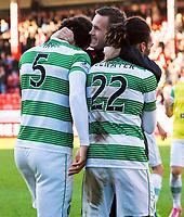 09/11/14 SCOTTISH PREMIERSHIP <br /> ABERDEEN v CELTIC <br /> PITTODRIE - ABERDEEN<br /> Celtic manager Ronny Deila (centre) congratulates Virgil van Dijk and Jason Denayer at the full time whistle