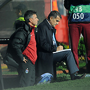Trabzonspor's coach Senol GUNES (R) during their UEFA Champions League group stage matchday 4 soccer match Trabzonspor between CSKA Moskva at the Avni Aker Stadium at Trabzon Turkey on Wednesday, 02 November 2011. Photo by TURKPIX