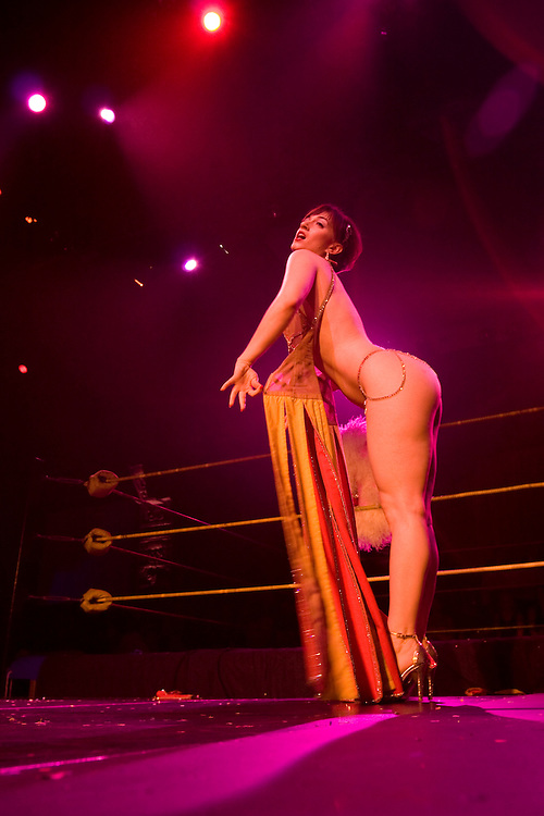 In between matches at Lucha Va Voom, there is Burlesque.