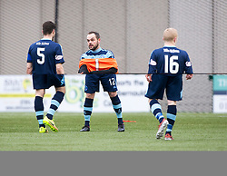 Forfar Athletic's Martin Fotheringham  goes in goals. Clyde 2 v 2 Forfar Athletic, Scottish League Two game played 4/3/2017 at Clyde's home ground, Broadwood Stadium, Cumbernauld.