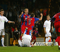 Photo: Chris Ratcliffe.<br /> Crystal Palace v Southend United. Coca Cola Championship. 08/08/2006.<br /> Mark Hudson (R)  and James Scowcroft of Palace celebrate Hudson scoring the third Palace goal.