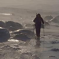 """Ice Fjord (Isfjorden), <br /> Spitsbergen, Svalbard, Norway.""An expedition skier explores"
