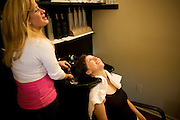 Saturday July 5th 2008. .Millerton, New York. United States..Kelly and Neil's Wedding Week End..At the Hairdresser....