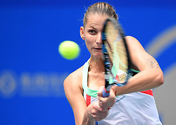 Sept. 28, 2017 - Wuhan, China - KAROLINA PLISKOVA of Czech Republic returns the ball during the singles quarterfinal match against A. Barty of Australia at 2017 WTA Wuhan Open in Wuhan, capital of central China's Hubei Province. Pliskova lost 1-2. (Credit Image: © Cheng Min/Xinhua via ZUMA Wire)