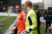 Allan McGregor Rangers Keeper & Craig Samson of St Mirren lead out the teams during the Ladbrokes Scottish Premiership match between St Mirren and Rangers at the Simple Digital Arena, Paisley, Scotland on 3 November 2018.