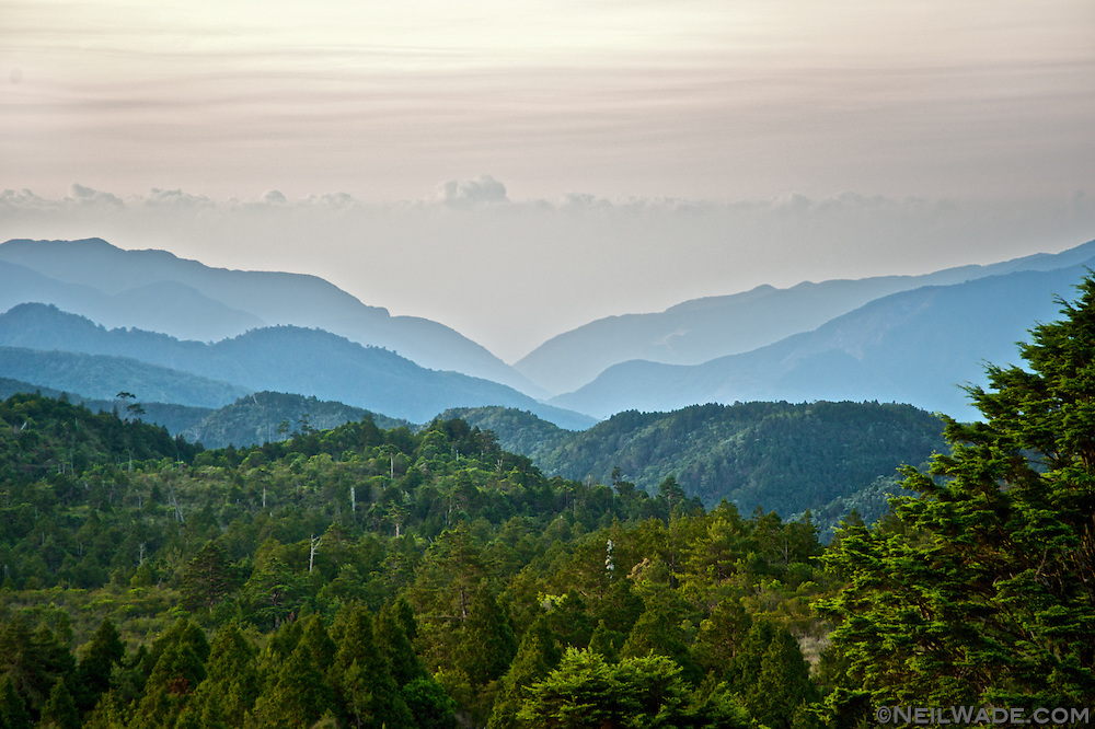 Sunrise looking to the east, towards Taiping Shan ??? and Yilan ??.