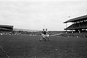 16/10/1966<br /> 10/16/1966<br /> 16 October 1966<br /> Oireachtas Senior Semi-Final: Cork v Wexford at Croke Park, Dublin.<br /> Cork forward, J. Bennett and Wexford back, T. Neville, race for the ball.