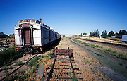 old abandoned rusty passengers rail wagons USA