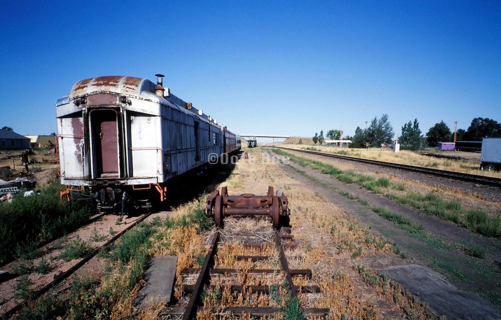 old abandoned rusty passengers rail wagons USA