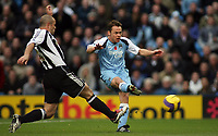 Photo: Paul Thomas.<br /> Manchester City v Newcastle United. The Barclays Premiership. 11/11/2006.<br /> <br /> Man City's Paul Dickov (R) has a great chance tyo put them ahead, but it's saved by the Newcastle keeper, Stephen Harper (out of picture).