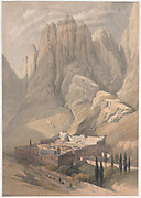 Convent of St. Catherine with Mount Horeb, Sinai Color lithograph by David Roberts (1796-1864). An engraving reprint by Louis Haghe was published in a the book 'The Holy Land, Syria, Idumea, Arabia, Egypt and Nubia. in 1855 by D. Appleton & Co., 346 & 348 Broadway in New York.
