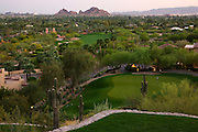 The 8th hole on the Desert Golf Course at the Phoenician Resort in Scottsdale, Arizona.