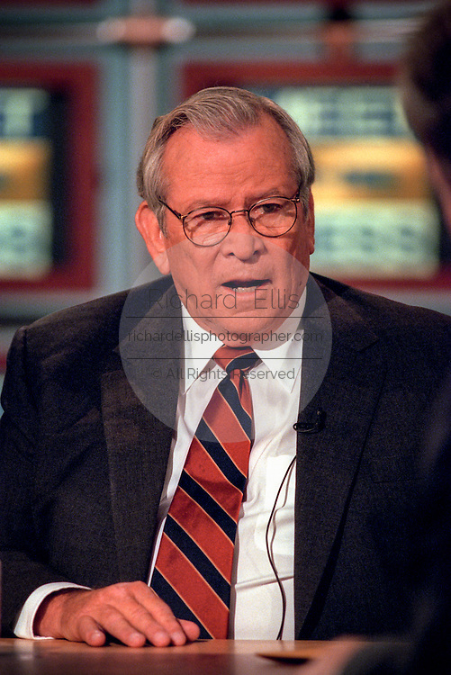 Former Sen. Howard Baker discusses the ongoing scandal involving President Clinton during NBC's Meet the Press September 27, 1998 in Washington, DC.
