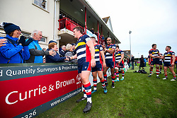 Jack O'Connell of Bristol Rugby thanks the fans after a bonus point win - Rogan/JMP - 28/10/2017 - RUGBY UNION - Stade Santander International - St Peter, Jersey - Jersey Reds v Bristol Rugby - Greene King IPA Championship.
