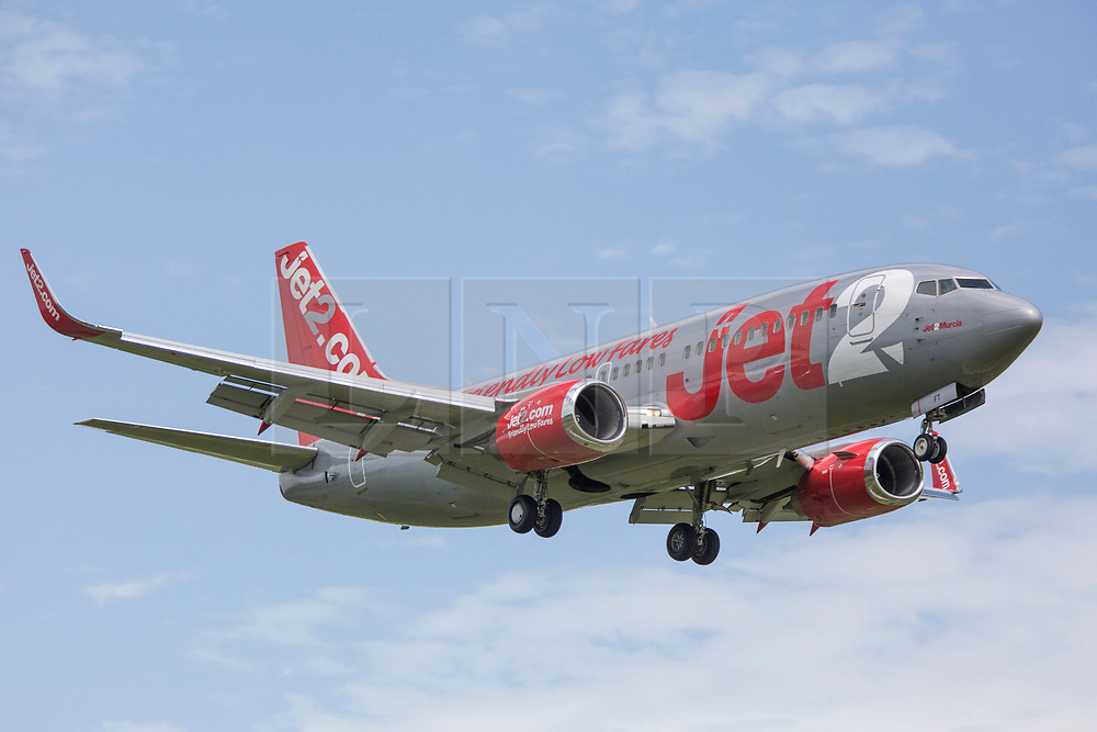 © Licensed to London News Pictures. 27/08/2020. Leeds UK. File picture of a Jet2 aircraft 07/07/2015 landing at Leeds Bradford Airport. Leeds based airline Jet2 has cancelled all flights to the Balearic Islands for the remainder of summer, and it has extended the suspension of package holidays and flights to mainland Spain and the Canaries until September 13. Photo credit: Andrew McCaren/LNP