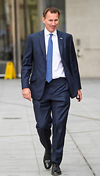 © Licensed to London News Pictures. 09/07/2018. London, UK. Health secretary JEREMY HUNT is seen leaving BBC Broadcasting House in London after discussing the resignation of former Brexit Secretary David Davis. Photo credit: Ben Cawthra/LNP