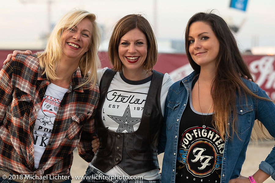 Pamela Beckmann came all the way from Germany with a friend for the Surf City Blitz and RSD Moto Beach Classic. Huntington Beach, CA, USA. Sunday October 28, 2018. Photography ©2018 Michael Lichter.