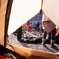 Local traders come into camp to sell their wares to trekkers hiking around Annapurna in Nepal.