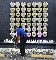 June 12, 2017 - Orlando, Florida, U.S.- A wall of flowered hearts, representing each of the victims of the Pulse nightclub massacre, on the side of the club, Monday, commemorates the one-year anniversary of the June 12, 2016, massacre that killed 49. (Credit Image: © Joe Burbank/TNS via ZUMA Wire)