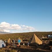The late afternoon sun catches the tents at Shira 1 camp on Mt Kilimanjaro. In the distance, to the left, is the mountain peak, largely hidden by clouds.