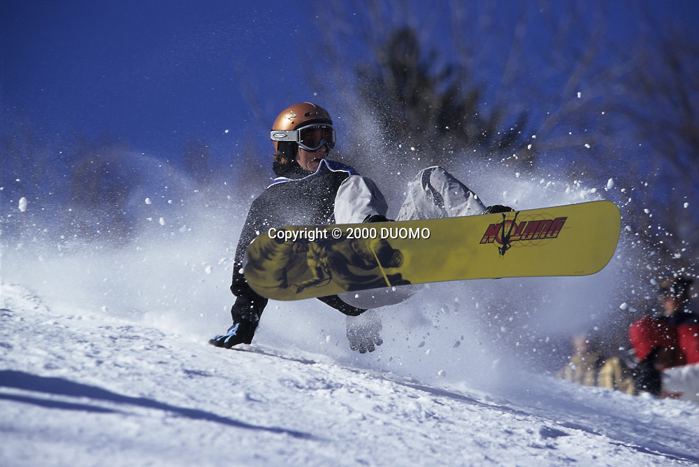 Sandy Theys snowboarding at the 2000 Winter X Games.