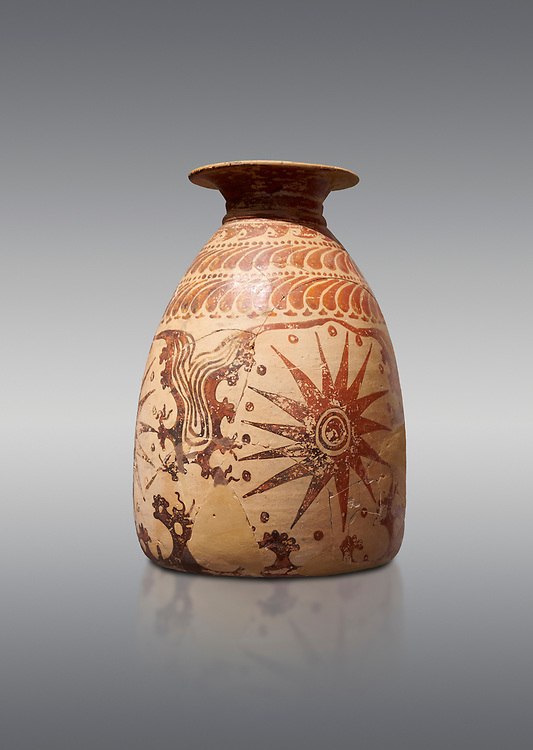 Minoan clay vase with marine design, Speial Palatial Tradition , Knossos Palace 1500-1450 BC BC, Heraklion Archaeological  Museum, grey background. .<br /> <br /> If you prefer to buy from our ALAMY PHOTO LIBRARY  Collection visit : https://www.alamy.com/portfolio/paul-williams-funkystock/minoan-art-artefacts.html . Type -   Heraklion   - into the LOWER SEARCH WITHIN GALLERY box. Refine search by adding background colour, place, museum etc<br /> <br /> Visit our MINOAN ART PHOTO COLLECTIONS for more photos to download  as wall art prints https://funkystock.photoshelter.com/gallery-collection/Ancient-Minoans-Art-Artefacts-Antiquities-Historic-Places-Pictures-Images-of/C0000ricT2SU_M9w