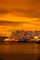 Snow covered coastline, Austvagoya Island, Lofoten Islands, Arctic, Northern Norway.