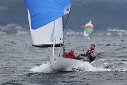 The Flying Dutchman World Championships,  Largs 2014. First days racing in breezy conditions on the Clyde. <br /> <br /> The former Olympic class has attract 40 worldwide competitors to Scotland to compete. <br /> <br /> GBR 387, Jon Williams, Alex Rogers<br /> <br /> PIctures Marc Turner / PFM Pictures