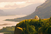 Crown Point Vista House from Chanticleer Point (Portland Women's Forum Viewpoint), Columbia River Gorge National Scenic Area, Oregon USA