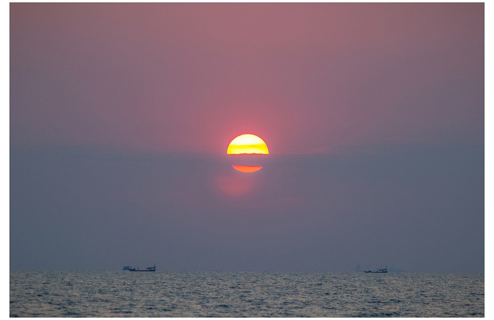 Sunset on the Tonle Sap River, Cambodia.