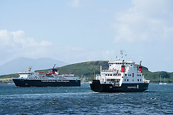 Two passenger ferries operated by Caledonian Macbrayne , Calmac, in Oban harbour in Argyll and Bute , Scotland, united Kingdom