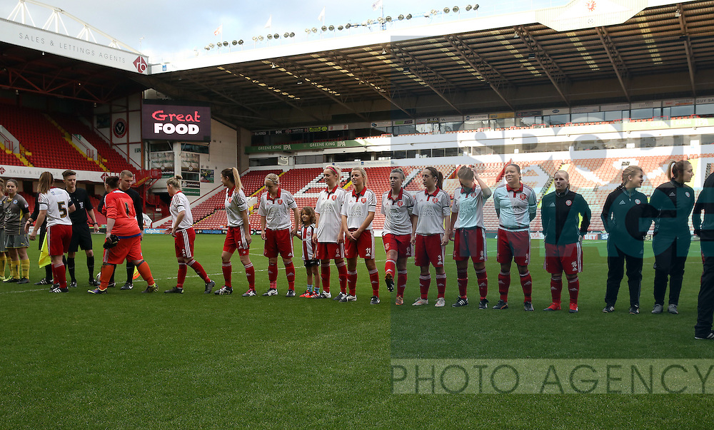 The Sheffield United Ladies team line up before kick off during the FA Women's Cup First Round match at Bramall Lane Stadium, Sheffield. Picture date: December 4th, 2016. Pic Clint Hughes/Sportimage