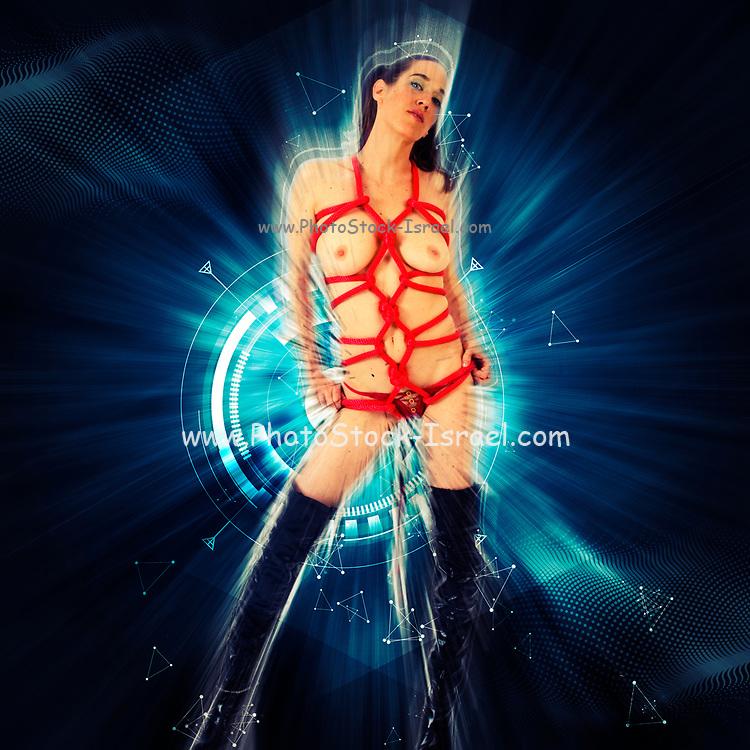 Digitally enhanced image of Kinbaku Japanese bondage art. Fetish model 26 years old tied with red rope wearing knee high black boots. Model relase available