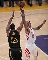 April 10, 2018 - Los Angeles, California, U.S - Channing Frye #12 of the Los Angeles Lakers goes for a shot against Gerald Green #14 of the Houston Rockets  during their NBA game on Tuesday April 10, 2018 at Staples Center in Los Angeles, California. Lakers lose to Rockets, 105-99. (Credit Image: © Prensa Internacional via ZUMA Wire)