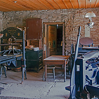 An old newspaper print room remains intact in Virginia City, a ghost town that was once the capital of Montana Territory.