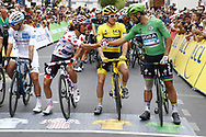 Start, Julian Alaphilippe (FRA - QuickStep - Floors) Polka dots jersey, Geraint Thomas (GBR - Team Sky) Yellow jersey, Peter Sagan (SVK - Bora - Hansgrohe) Green Jersey during the 105th Tour de France 2018, Stage 21, Houilles - Paris Champs-Elysees (115 km) on July 29th, 2018 - Photo Luca Bettini / BettiniPhoto / ProSportsImages / DPPI