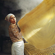 A woman making 'Mien' canna flour noodles in Huu Tu village, Hanoi, Vietnam. With Vietnam's growing population making less land available for farmers to work, families unable to sustain themselves are turning to the creation of various products in rural areas.  These 'craft' villages specialise in a single product or activity, anything from palm leaf hats to incense sticks, or from noodle making to snake-catching. Some of these 'craft' villages date back hundreds of years, whilst others are a more recent response to enable rural farmers to earn much needed extra income.