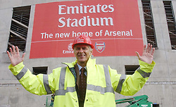 Arsenal manager Arsene Wenger at the site of their new stadium. Arsenal football club signed the biggest club sponsorship agreement in English football history with Emirates Airlines worth  100 million pounds. The agreement provides the airline with naming rights to Arsenals new  357 million pound stadium the Emirates Stadium.  THIS PICTURE CAN ONLY BE USED WITHIN THE CONTEXT OF AN EDITORIAL FEATURE. NO WEBSITE/INTERNET USE UNLESS SITE IS REGISTERED WITH FOOTBALL ASSOCIATION PREMIER LEAGUE.