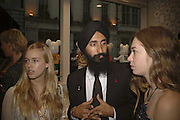 MARY CHARTERIS, Waris Ahluwalia AND ANOUSKHA BECKWITH, Party for House of Waris jewelry collection hosted by Daphne Guinness, Alice Bamford and Wes Anderson. Dover St. market. London. 8 June 2006. ONE TIME USE ONLY - DO NOT ARCHIVE  © Copyright Photograph by Dafydd Jones 66 Stockwell Park Rd. London SW9 0DA Tel 020 7733 0108 www.dafjones.com