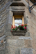 Flowers on a windowsill in the historic centre of Roscoff, Brittany, France