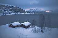 Fishing sheds (rorbuer) near Langfjordbotn, near Alta in the far north region of Finnmark, in Norway.