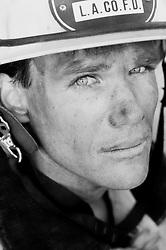 Portrait of a fireman after work
