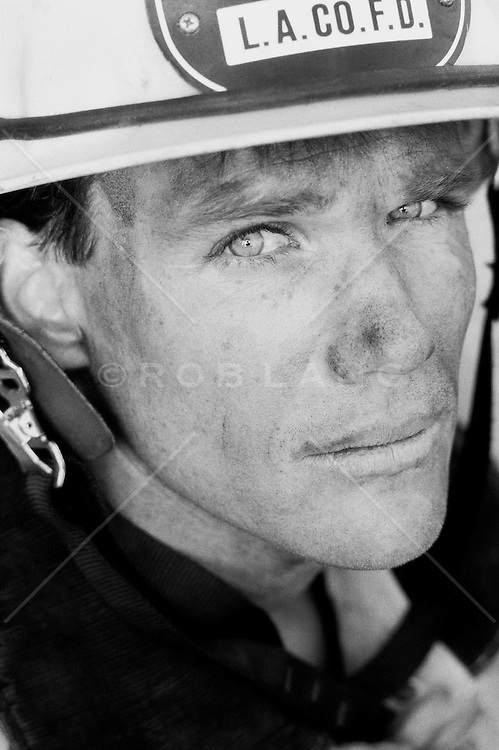 Portrait of a fireman after work