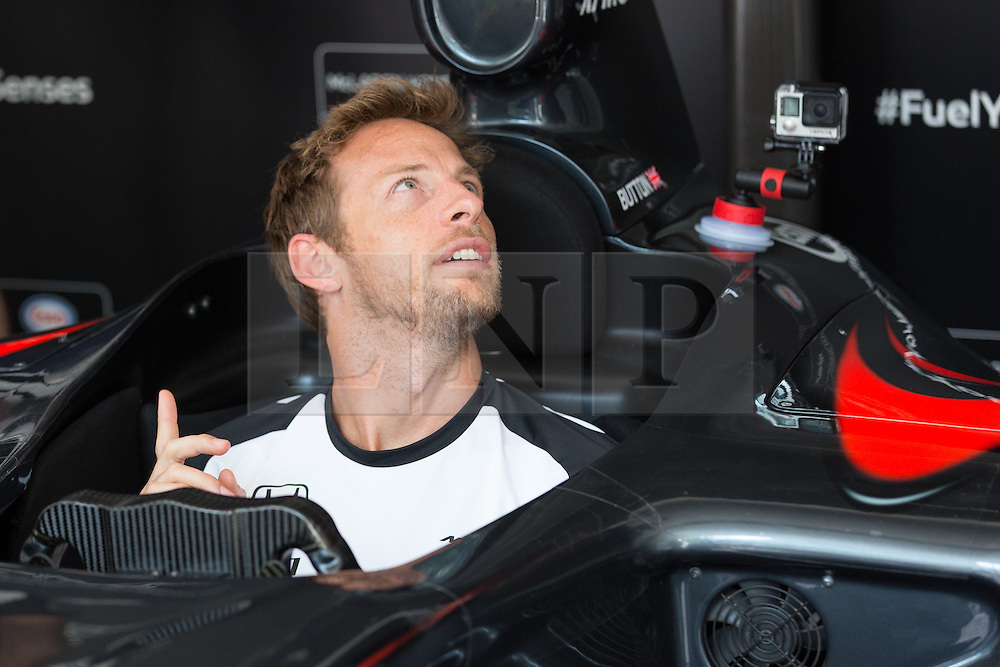 © Licensed to London News Pictures. 01/07/2015. London, UK. JENSON BUTTON the launch of a virtual reality race experience at Canary Wharf in London today. Fans will be able to enjoy a 360 degree race experience using virtual reality technology. Photo credit : Vickie Flores/LNP